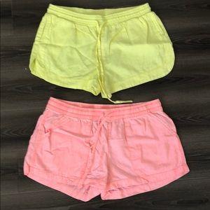 Set of neon linen Bebe shorts